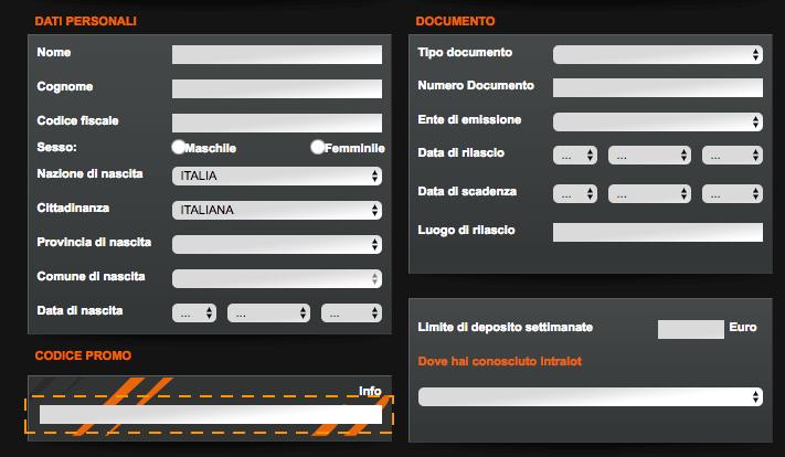 codice promozionale intralot scommesse registrazione