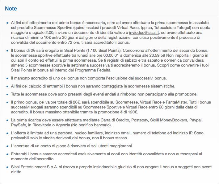 sisal codice promozionale termini e condizioni