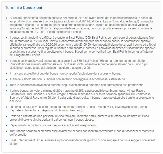 termini e condizioni sisal codice promozionale